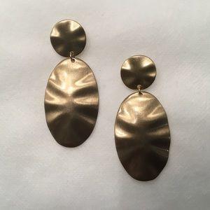 Jewelry - Rippled Double Tier Matte Gold Earrings